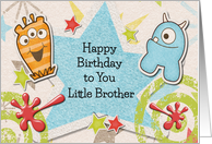 Happy Birthday Little Brother Alien Monsters and Stars card