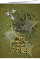 Happy Birthday Awesome Step Son Masculine Grunge Stars card
