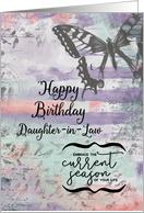 Happy Birthday to Daughter-in-Law Butterfly Inspirational Word Art card