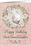 Happy Birthday to Great Granddaughter Pretty Kitty Hearts and Flowers card