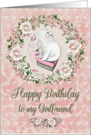 Happy Birthday to Girlfriend Pretty Kitty Hearts and Flowers card