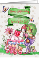 Happy 11th Birthday to a Special Little Girl Cute Fairy and Cupcake card