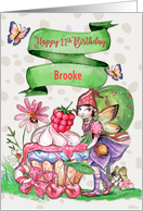 Happy 11th Birthday Custom Name Fairy Cupcake and Flowers card