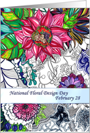 National Floral Design Day February 28, hand drawn colorful florals card