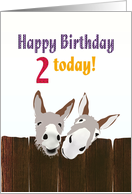 2nd birthday, donkeys looking over a wooden fence card