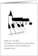 Thank you volunteer church musician, Outline of church and organ keys card