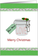 Christmas for deployed service men and women, bottled love from home card