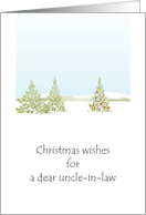 Christmas wishes for uncle-in-law, pretty snow scene with tree and baubles card