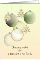 Christmas wishes for aunt & family, glass baubles and holiday tree ornaments card