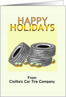 Customizable happy holidays from car tire company to customers, Tires and baubles card