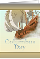 Columbus Day, sketch of Spanish galleon in the mist card