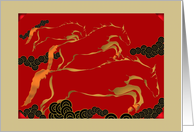 Chinese new year of the Horse 2014, galloping horses card