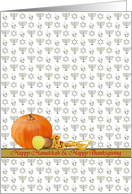 Happy Thanksgivukkah, pumpkin apples corn dreidels star of David menorah card