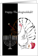 Thanksgivukkah, turkey lighting candles on menorah card