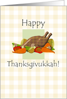 Thanksgivukkah, turkey and vegetables against a light brown gingham pattern card