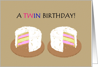 Birthday for twin boy and girl, twin cakes card
