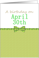 Birthday on April 30th, patterned bowtie card