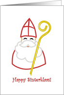 Happy Sinterklaas, Sinterklaas in red mitre with crosier card