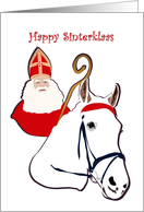 Happy Sinterklaas, Sinterklaas in red mitre, cape and with crosier card