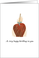 For surrogate mother on her birthday, gift wrapped toffee apple card