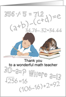 Thank you math teacher, young man doing his homework card