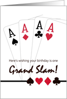 Birthday for bridge player, card suits, aces card