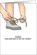 Customizable name congratulations on learning to tie shoes card