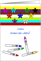 Customizable name congratulations learning your colors card