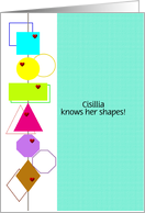 Customizable name congratulations on knowing your shapes card