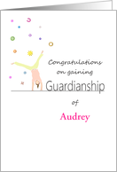 Congratulations on gaining guardianship, girl cartwheeling card