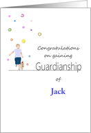 Congratulations on gaining guardianship, boy running with pet dog card