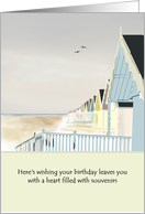 Soft color sketch of beach huts framed against morning sky, birthday card