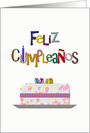 Spanish birthday greeting, Colorful greeting, cake and presents card