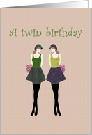 Birthday for twin girls, Twins holding flowers card