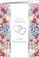 Congratulations to godparents on their wedding day, Florals and silver hearts card