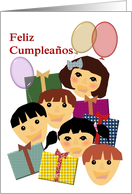 Spanish birthday greeting for children, Children, balloons and presents card