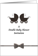 Invitation to a double baby shower, Two prams card