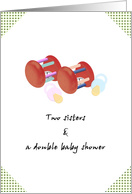 Invitation from two sisters throwing a double baby shower card