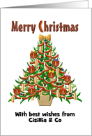 Customizable greeting from sausage company, Edible ornaments card