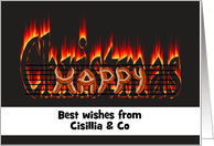 Customizable greeting from sausage company, Sausages on an open fire card