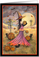 October Fields - Halloween Witch and Black Cats card