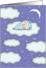 Congratulations - Baby on Cloud - Starry Night card