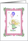 Little Birthday Girl with Balloons and Flowers card