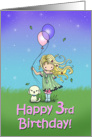 3 Year Old Birthday - Little Girl and Dog Holding Balloons card