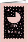 Girl Baby Shower Invitation - Pink Baby Buggy - Stars and Moons card