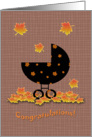 Fall Autumn Baby Carriage Congratulations on your New Baby card