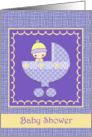 Baby Shower Invitations - Spring Colors Purple and Yellow - Boy or Girl card