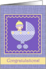 New Baby Congratulations Card - Purple and Yellow card