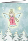 Little Christmas Angel above the Trees card
