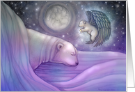 Chirstmas Holiday Card - Polar Bear and Angel card